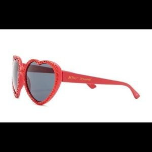 Betsey Johnson Accessories - Betsy Johnson Red Rhinestone Heart Sunglasses NEW!